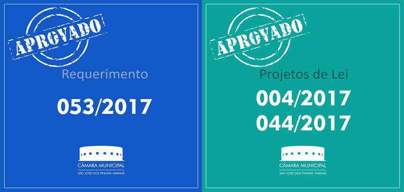 Projetos de Lei e Requerimento aprovados nesta quinta-feira, 27 de abril: