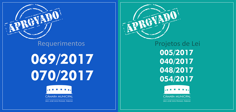 Projetos de Lei e Requerimentos aprovados nesta terça-feira, 16 de maio: