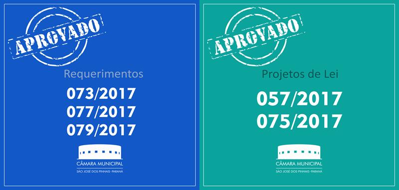 Projetos de Lei e Requerimentos aprovados nesta quinta-feira, 18 de maio: